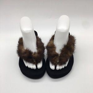 Sandals w/ Real MINK Fur & Crystal Embellishments